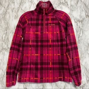 Columbia Pink & orange plaid fleece pullover